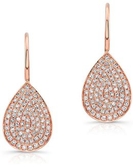 14kt Rose Gold Diamond Small Pear Shaped Earrings