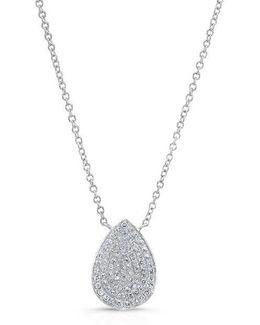 14kt White Gold Diamond Medium Pear Shaped Necklace