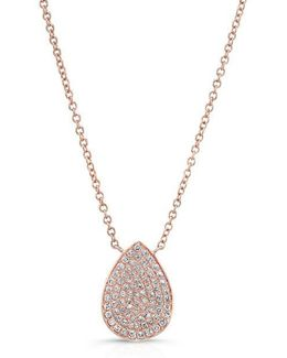 14kt Rose Gold Diamond Medium Pear Shaped Necklace