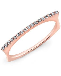 14kt Rose Gold Diamond Bar Dome Ring