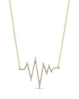 14kt Yellow Gold Diamond Heartbeat Necklace