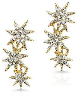 14kt Yellow Gold Diamond Triple Starburst Earrings