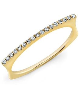 14kt Yellow Gold Diamond Bar Dome Ring