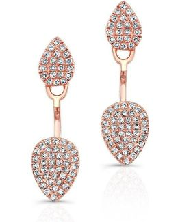 14kt Rose Gold Pear Shaped Floating Earrings