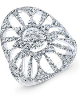 18kt White Gold Diamond Shield Ring