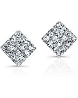 14kt White Gold Diamond Mini Square Stud Earrings