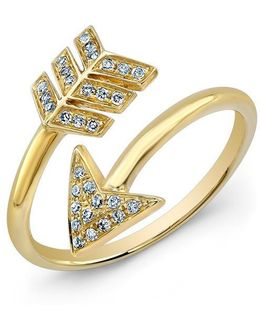 14kt Yellow Gold Diamond Wrap Around Arrow Ring