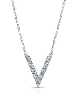 14kt White Gold Diamond V Necklace