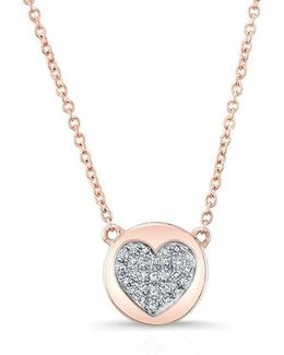 14kt Rose Gold Diamond 2 Sided Heart & Disc Necklace