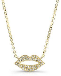 14kt Yellow Gold Diamond Lips Necklace