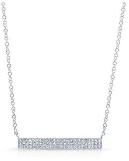 14kt White Gold Diamond Wide Bar Necklace