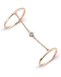14kt Rose Gold Solitaire Diamond Chain Ring