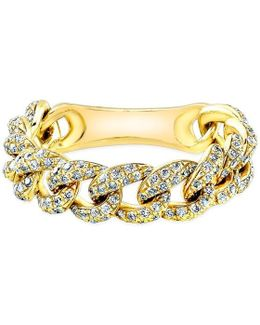 14kt Yellow Gold Diamond Thin Chain Link Ring