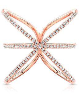 14kt Rose Gold Diamond Starburst Ring