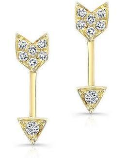 Yellow Gold Diamond Mini Arrow Stud Earrings