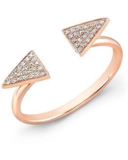 14kt Rose Gold Diamond Double Triangle Ring