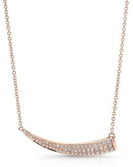 14kt Rose Gold Diamond Sideways Horn Necklace