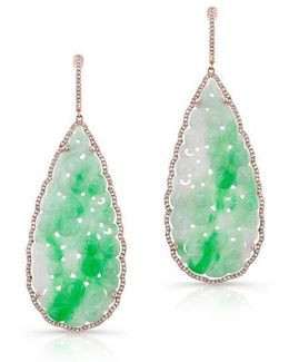 14kt Rose Gold Carved Jade And Diamond Earrings