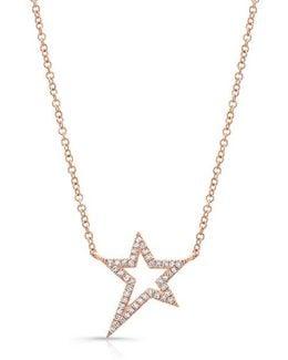 14kt Rose Gold Diamond Bowie Rockstar Necklace