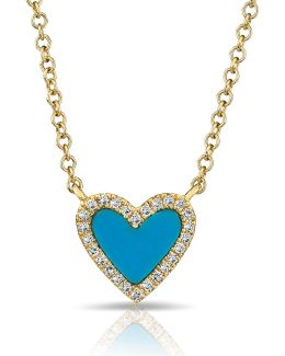 14kt Yellow Gold Turquoise Diamond Heart Necklace