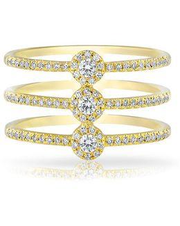 14kt Yellow Gold Diamond Triple Circuit Ring