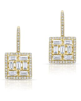 14kt Yellow Gold Baguette Diamond Square Labrynthe Earrings