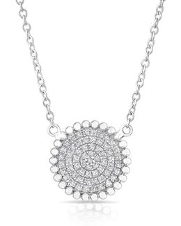 14kt White Gold Diamond Large Scalloped Disc Necklace