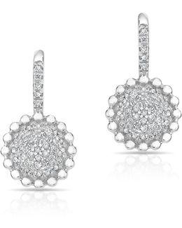 14kt White Gold Diamond Scalloped Wireback Earrings
