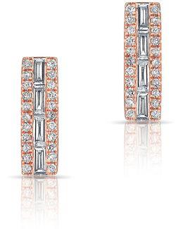 14kt Rose Gold Baguette Bar Stud Earrings