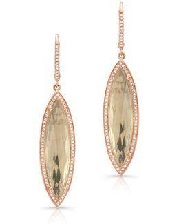 14kt Rose Gold Diamond White Topaz Serena Marquis Earrings