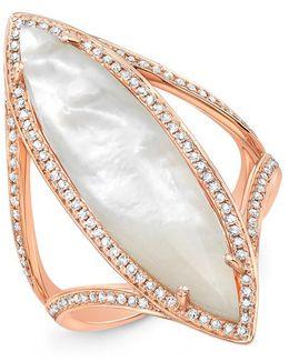 14kt Rose Gold Mother Of Pearl Diamond Celeste Ring