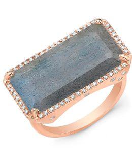14kt Rose Gold Diamond Base Labradorite Ring