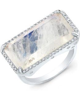 14kt White Gold Diamond Base Moonstone Ring