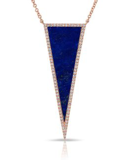 14kt Rose Gold Diamond Lapis Triangle Necklace