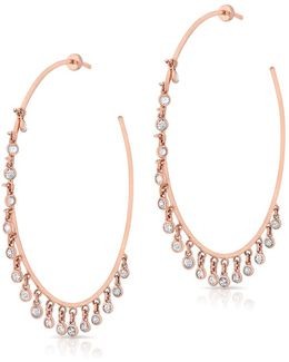 14kt Rose Gold Diamond Droplets Nile Hoop Earrings