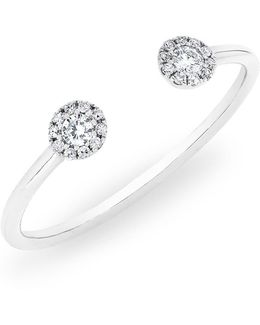 14kt White Gold Diamond Open Sally Ring