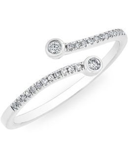 14kt White Gold Diamond Crossover Circuit Ring