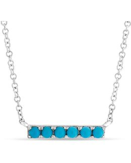 14kt White Gold Turquoise Mini Bar Necklace