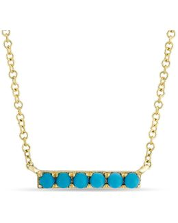 14kt Yellow Gold Turquoise Mini Bar Necklace