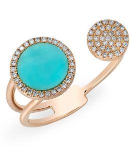 14kt Rose Gold Diamond Turquoise Disc Nikki Ring