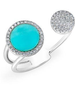 14kt White Gold Diamond Turquoise Disc Nikki Ring
