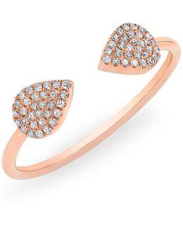 14kt Rose Gold Diamond Open Pear Pauline Ring
