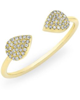 14kt Yellow Gold Diamond Open Pear Pauline Ring
