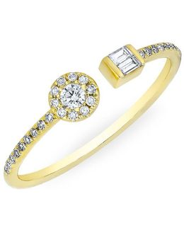 14kt Yellow Gold Diamond Baguette And Disc Naima Ring