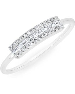 14kt White Gold Diamond Baguette Curved Bar Delilah Ring