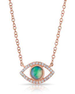14kt Rose Gold Diamond Open Opal Evil Eye Sukie Necklace
