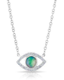 14kt White Gold Diamond Open Opal Evil Eye Sukie Necklace