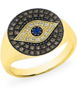 14kt Yellow Gold Diamond Sapphire Evil Eye Disc Camille Ring