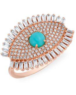 14kt Rose Gold Baguette Diamond Turquoise Evil Eye Gypsy Ring