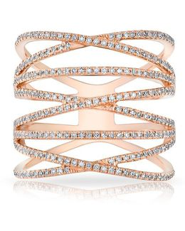 14kt Rose Gold Diamond Multiband Riverly Ring